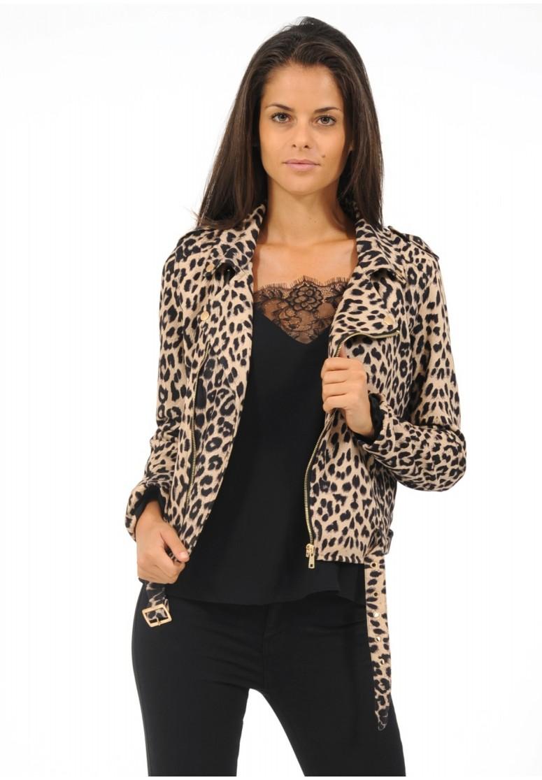 perfecto en suédine motif léopard