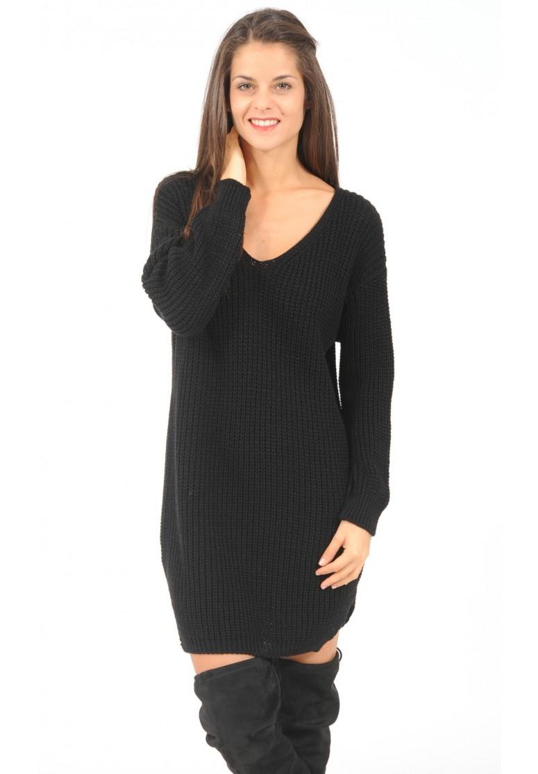 robe pull en maille col V noir