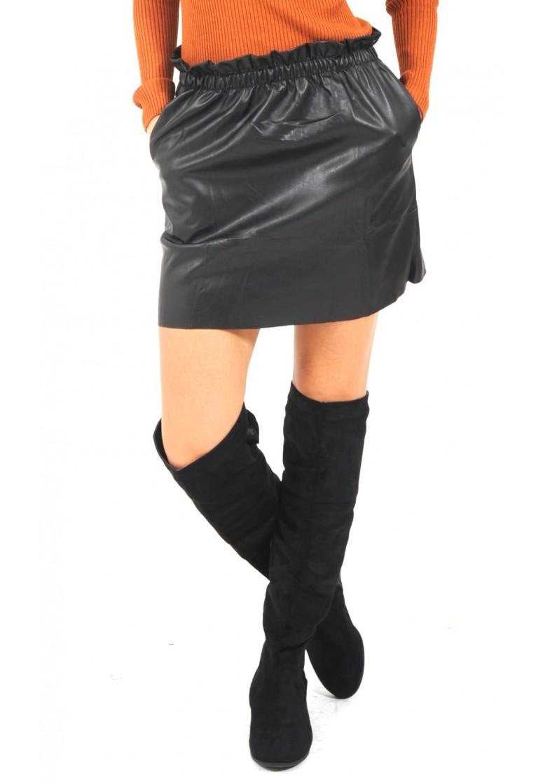 jupe noir en simili cuir