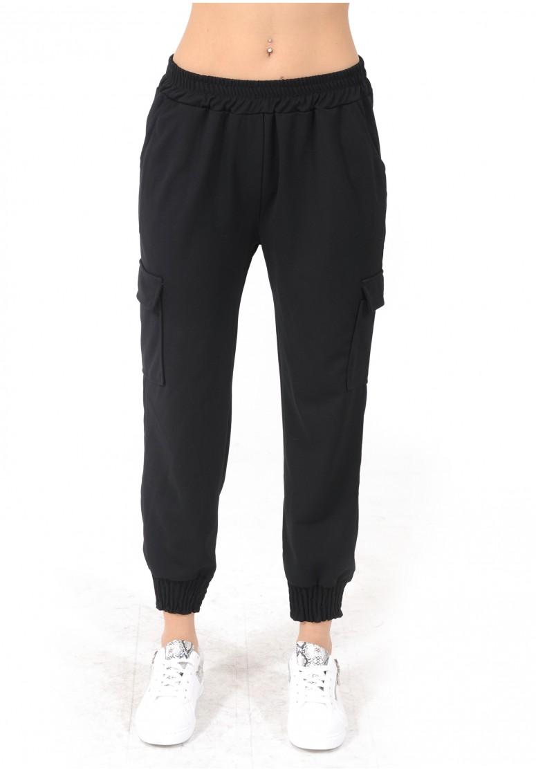 Pantalon cargo taille élastique noir