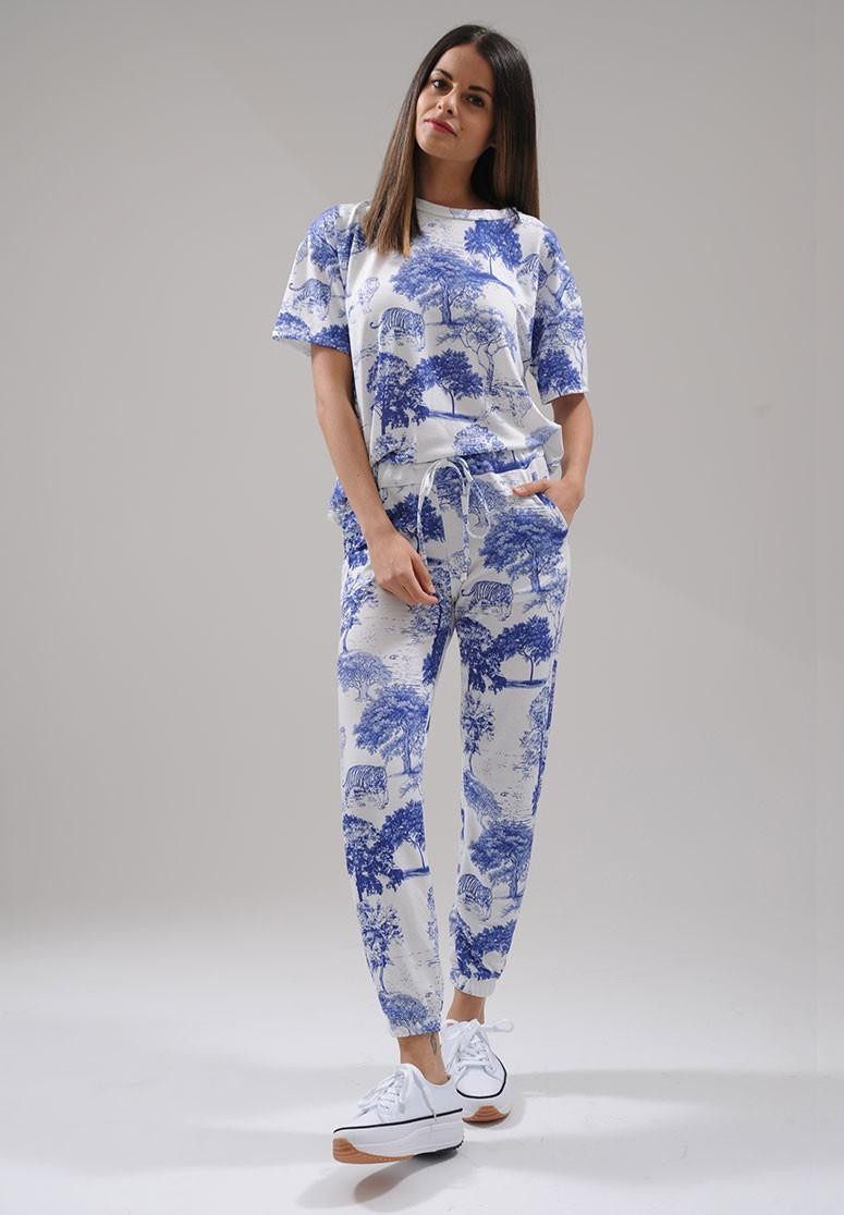Ensemble femme 2 pièces t-shirt + jogging blanc à imprimé savane bleu