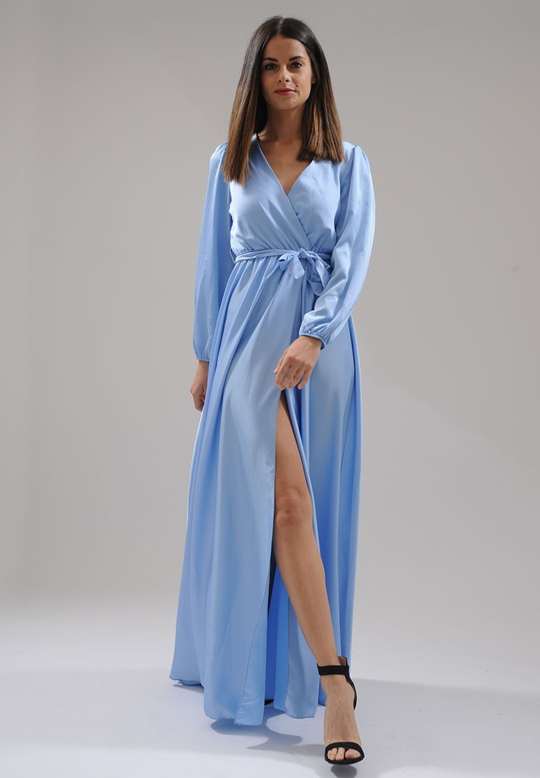 Robe longue à fente satin bleu