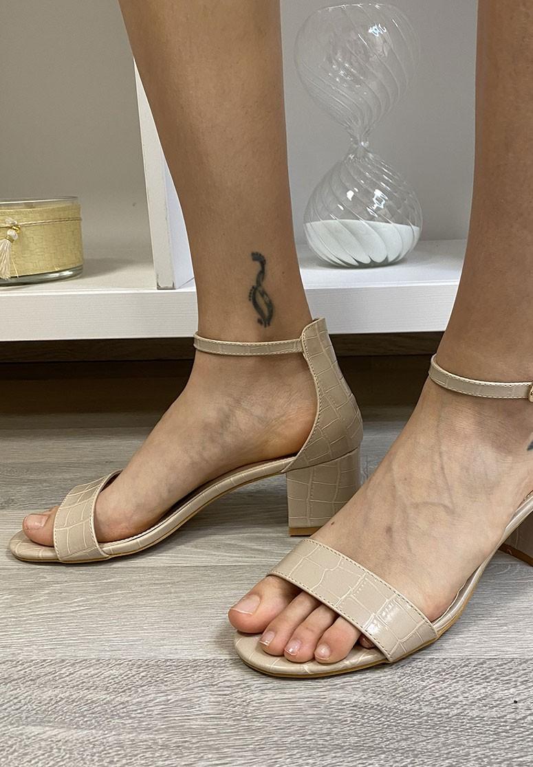 Sandales femme beiges effet croco à talon en bloc