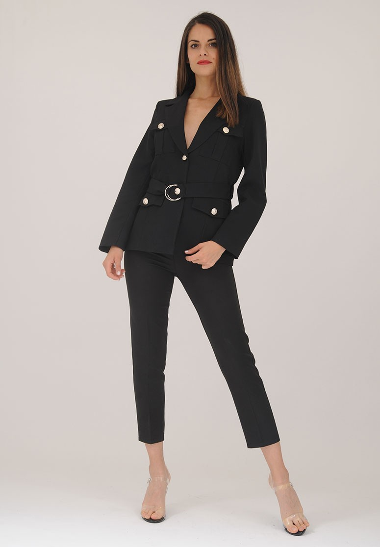 Ensemble femme 2 pièces blazer + pantalon noir