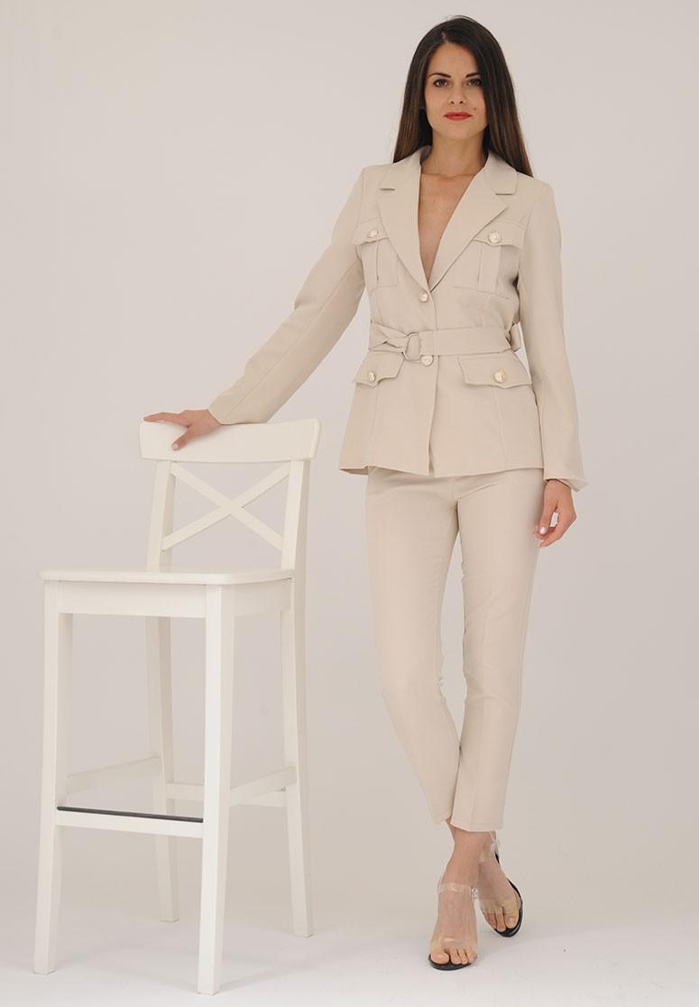 Ensemble femme 2 pièces blazer + pantalon beige