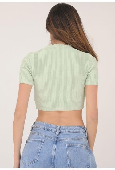 T-shirt femme court côtelé...