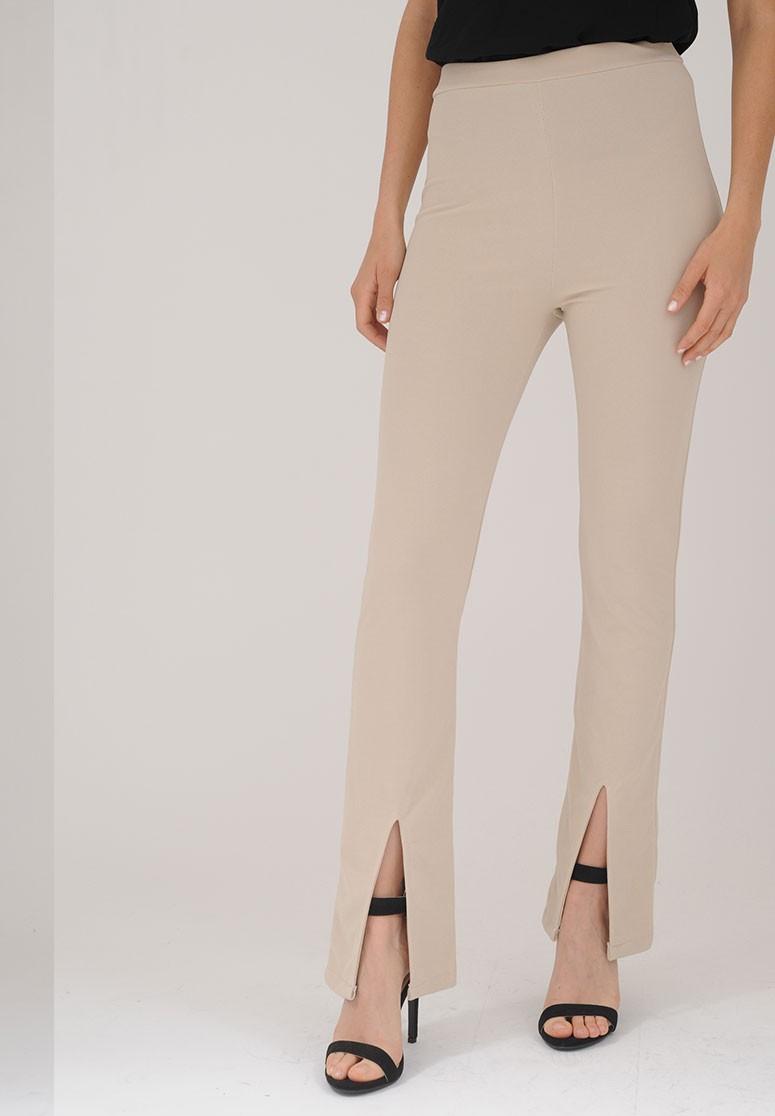 Pantalon femme slim à fente beige