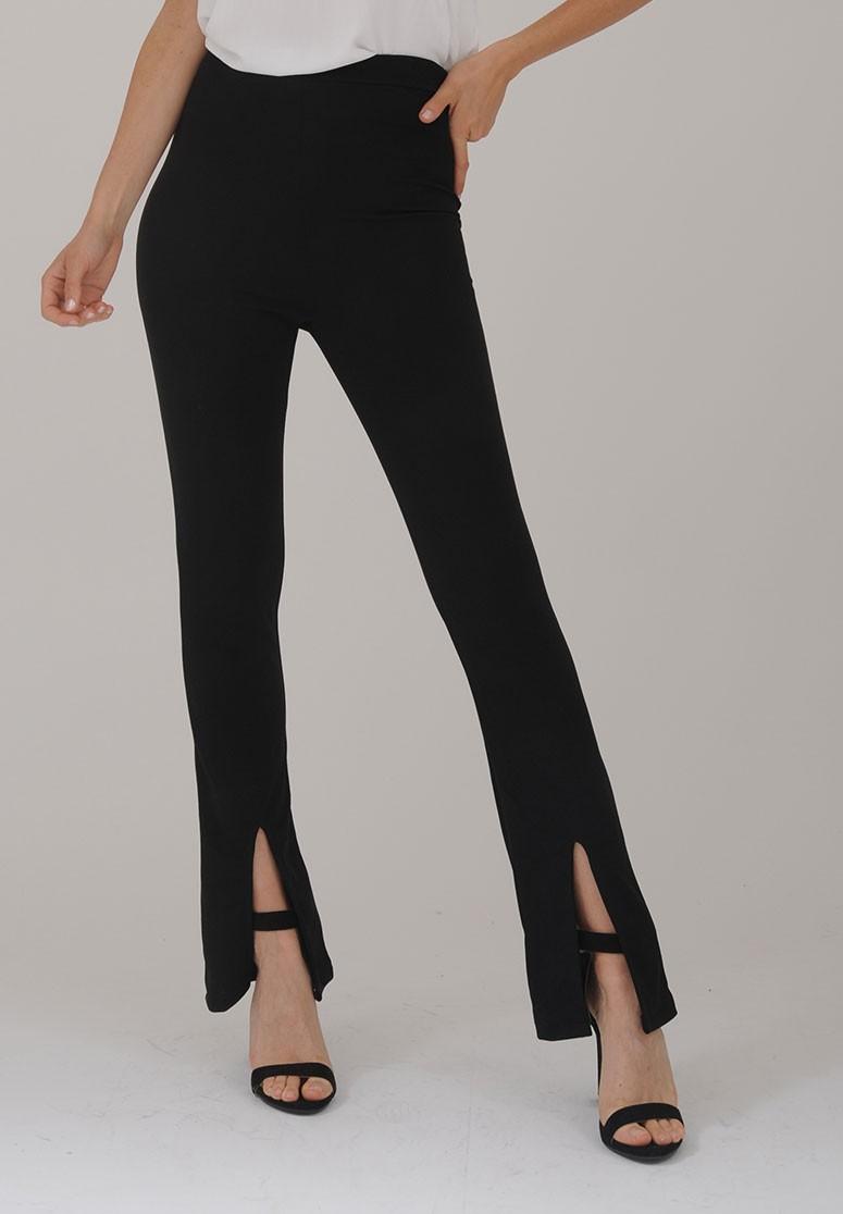 Pantalon femme slim à fentes noir