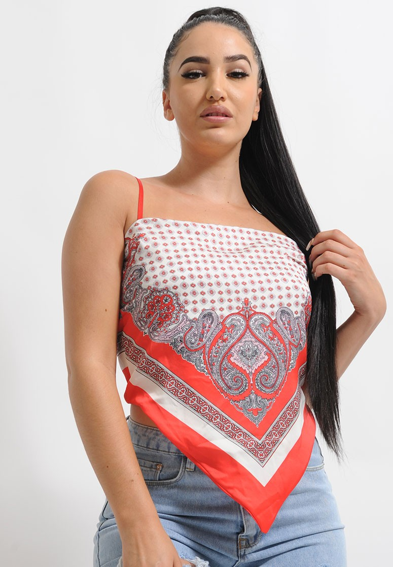 Top rouge imprimé foulard à nouer