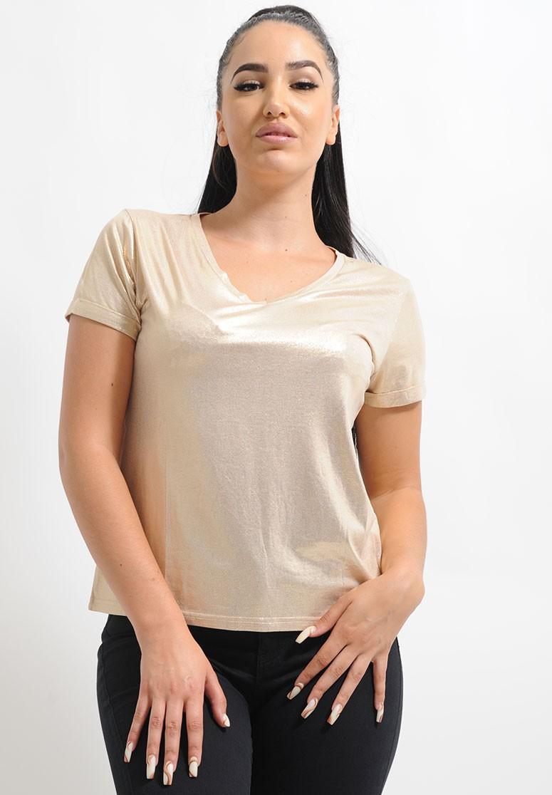 T-shirt femme satin doré col v
